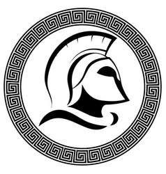 Ancient spartan helmet with slogan molon labe vector