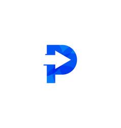 arrow letter p logo icon design vector image