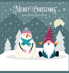 beautiful christmas card with gnome and snowman vector image