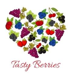 Berries fruits in shape of heart vector image