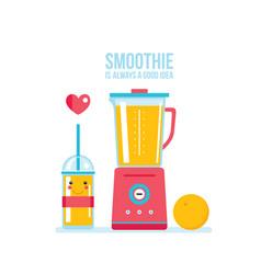 blender and glass of fresh orange smoothie vector image