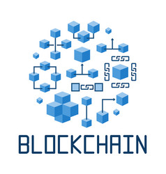 Blockchain technology in round shape vector