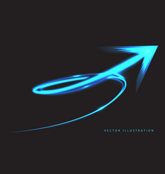 Blue arrow speed motion spiral light neon vector