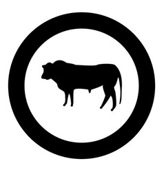 bull icon black color in circle vector image