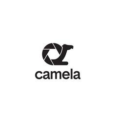 camera and camel logo design concept vector image