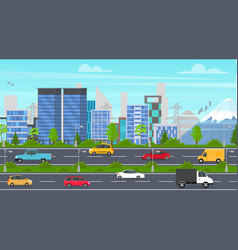 cartoon city panorama highway vector image