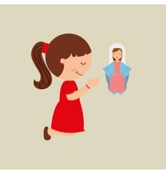 cartoon girl praying with holy bible design vector image