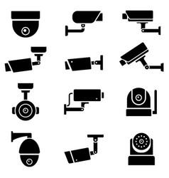 cctv camera icons set vector image
