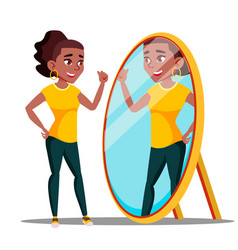 Character woman watch mirror and admires vector