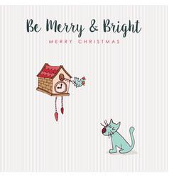 christmas fun cat and bird hooliday cartoon card vector image