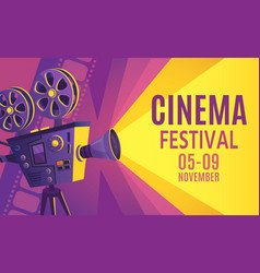 cinema festival poster film billboard retro vector image