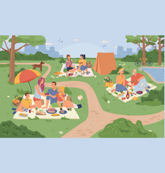 City park and people sitting on grass picnic food vector