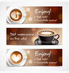 Coffee advertising horizontal banners vector