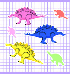 colored dinosaurs isolated vector image
