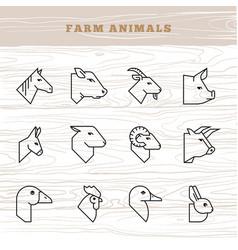 Concept farm animals icon set in a vector