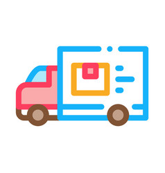 courier truck icon outline vector image