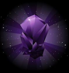 create violet gemstone on sky space background vector image