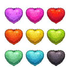 Cute cartoon colorful fluffy hearts vector