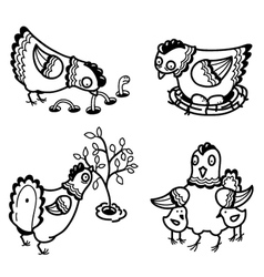 cute chicken set outline version vector image