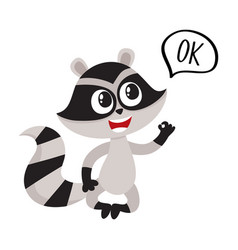 cute little raccoon character with ok word in vector image