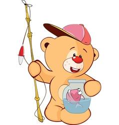 Cute stuffed toy bear cub cartoon vector
