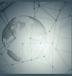 dotted world globe connecting lines and dots vector image