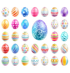 easter eggs set color with different and patterns vector image