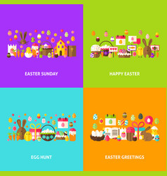 easter holiday greeting set vector image