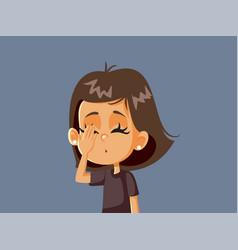 Facepalm little girl feeling unhappy vector
