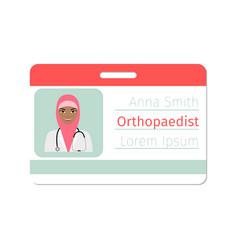 Female orthopaedist medical specialist badge vector
