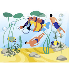 fish in scuba suit swims with people flat vector image