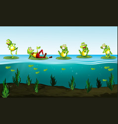 Five green frogs in the pond vector