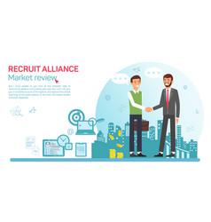 Flat banner recruit alliance job market review vector