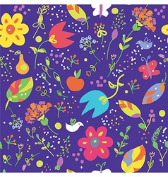 Floral seamless pattern with bird cute vector image