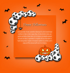 Frame halloween with soccer balls vector