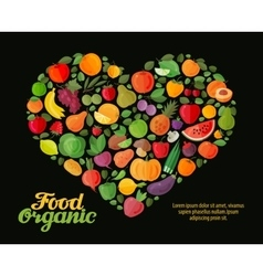 Fruit and vegetable heart flat vector