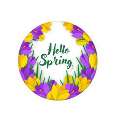 garland applique banner paper flowers crocuses vector image