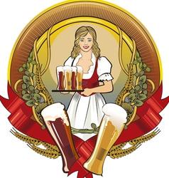 Girl beer waitress radial vector