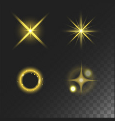 Glowing lights effect and stars effect glow vector