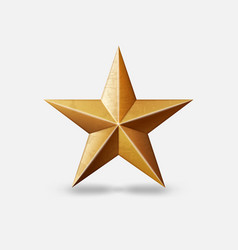 gold metallic star symbol on white background vector image