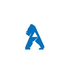 gorilla letter a logo vector image