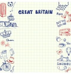 Great Britain Pen Drawn Doodles Collection vector image