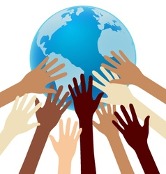 Group of Diversity Hand Reaching For the Earth vector