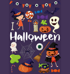 Halloween poster with kids in costumes vector
