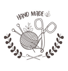 hand made sewing wool roll and needles with vector image