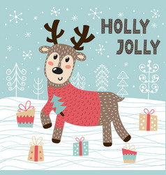 holly jolly christmas greeting card with a cute de vector image