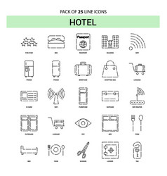 hotel line icon set - 25 dashed outline style vector image