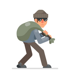 housebreaker with bag of loot sneak away evil vector image