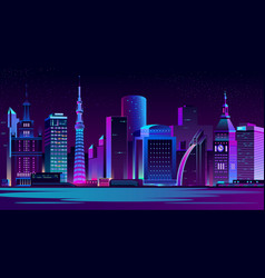 illuminated modern city night landscape vector image