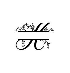 Initial h decorative plant monogram split letter vector